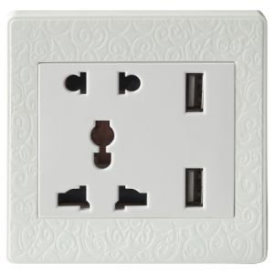 Omy 2014 Design 2400mA USB Power Wall Socket (UK/BS/Brazil)