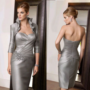 Silver Satin Knee Length Short Mother of The Bride Groom Dress (M153)