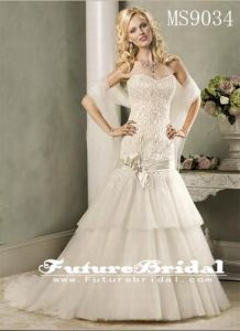 2014 New Luxury Wedding Dresses with Sweetheart Crystals Beads Backless Handmade Flowers A Line Chapel Train Tulle Hot Church (MS9034)