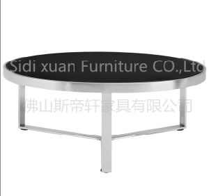 Furniture Conterporary Modern Round Coffee Table with Round Glass and Storage Plus Stainless Steel Metal Frame pictures & photos