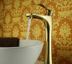 Golden Color Long Body High Quality Brass Basin Faucet