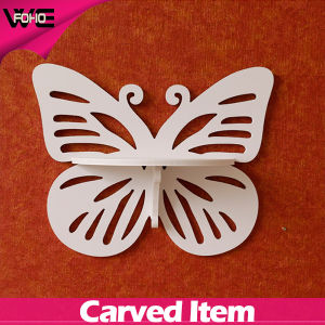 Small Wood Plastic Carved Single Bedroom Wall Shelf for Decoration pictures & photos