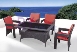 5 PCS PE Rattan Furniture with Black Glass Top Table pictures & photos