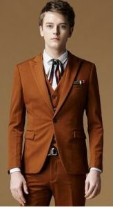 Bespoke Half Canvas Brown Suit for Men pictures & photos