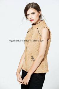 Popular Slim Fit OEM ODM Fashionable Zipper Women Leather Vest pictures & photos