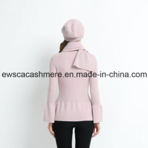 Pink Color Lady Round Neck Cashmere Pullover with Falbala pictures & photos
