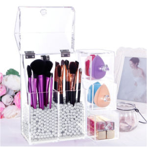Modern Acrylic Brush Holder with Flip Lid pictures & photos