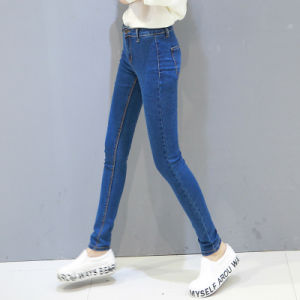 New Fashion Design Lady′s Washing Denim Jeans with Scratch pictures & photos