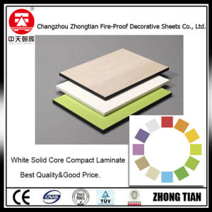 White Solid Color Core HPL Compact Laminate pictures & photos