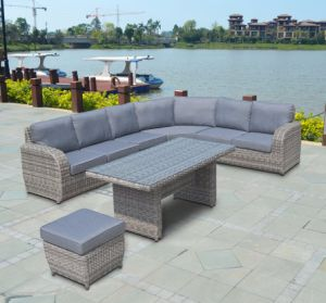 Half Round Rattan Patio Home Hotel Office Buffalo Lounge Combination Outdoor Sofa Set (J695) pictures & photos