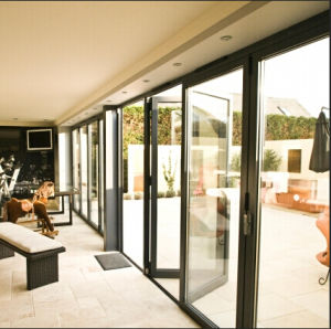 Alu-Wood Sliding Door with Built in Automatic or Manual Blinds pictures & photos