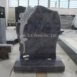 Indian Bahama Blue Granite Headstones with Rose Carving pictures & photos