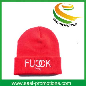Embroidery Logo Acrylic Knitted Beanie Cap Hat for Man pictures & photos