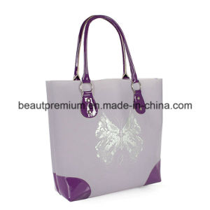 Fashion Plastic Light Purple with Butterfly Printing Beauty Handbag for Woman BPS042