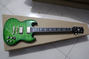 Hanhai Music/Green Sg Style Electric Guitar with Gold Hardware pictures & photos