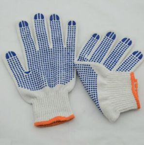 Cotton Dotted Gloves/Cotton PVC Dotted Gloves/Polycotton Gloves pictures & photos