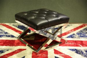 Vintage Leather Ottoman with Stainless Steel pictures & photos