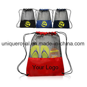 190t Beach Mesh Drawstring Bag pictures & photos