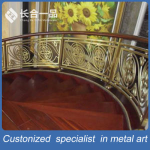 Golden Carve Patterns Stainless Steel Stair Handrail for Hotel Lobby pictures & photos