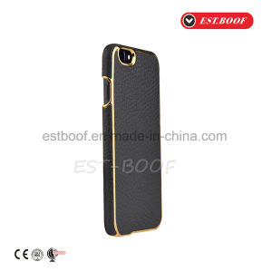 Leather Phone Case with Gold Electroplate Back Cover for iPhone/Samsung pictures & photos