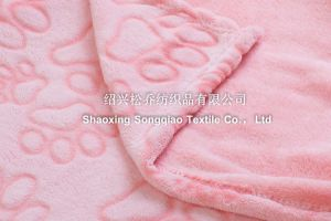 Embossed Flannel Fleece Blanket -Footprint pictures & photos