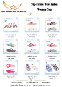 Women Printed PE Flip Flops with PVC Upper and Metal Decorations pictures & photos