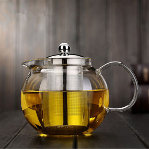 650ml/960ml/1300ml Borosilicate Glass Teapot with Stainless Steel Filter/Infuser Handmade pictures & photos