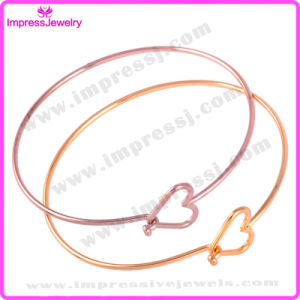 Stainless Steel Rose Gold Wire Bangle Bracelet with Heart pictures & photos