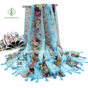 Large Size Printed with Fringed Beach Shawl Fashion Scarf pictures & photos