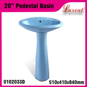 Porcelain Colored Floor Mounted Hand Wash Pedestal Basin pictures & photos