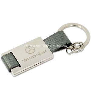 Promotional Custom Car Logo Metal Laser Carving Genuine Leather Keychain pictures & photos