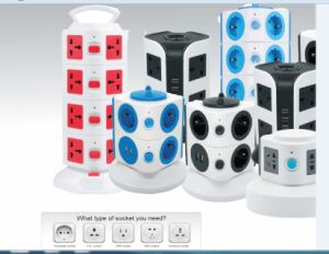 New Tower Multi Power Socket /Surge Protection USB/UK/Us/EU/Au Plug