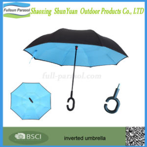 Windproof Reverse Folding Double Layer Sun Umbrella with C-Shaped Handle Inverted Umbrella Fullsun-Parasol
