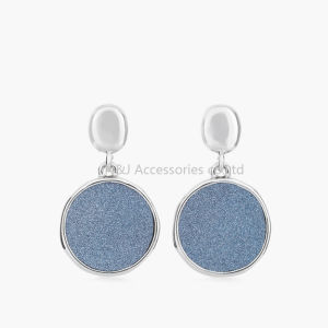 2017 New Fashion Round Earrings Stud Silver Plated with Shiny PU Women Earrings Jewelry pictures & photos