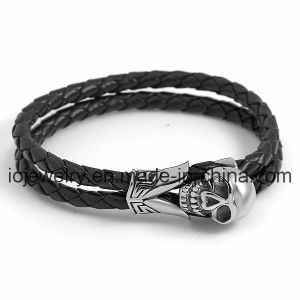Big Skull Head Leather Bracelet Factory pictures & photos