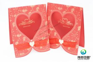 Gold Stamping Paper Printing Wedding Card with Embossing Heart pictures & photos