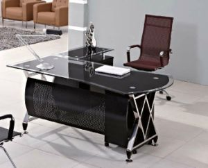 Classic Design Cheap China Glass Office Desk (HX-GL015) pictures & photos