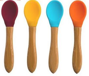 Soft Baby Feeding Silicone Spoon with Easy Grip Bamboo Handle pictures & photos