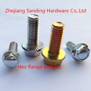 DIN6921 Carbon Steel 8.8 Yellow Zinc Plated Hex Flange Bolt pictures & photos