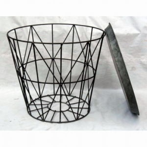 Round Sidetable of Antique Gray Color Metal Wire Bucket Sidetable pictures & photos