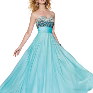 Beaded Bodice a-Line Most Popular Chiffon Prom Dresses (PD3022) pictures & photos
