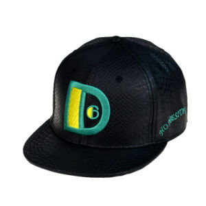 Black 6panels PU Snapback Hat pictures & photos