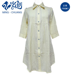 Mixed Colour MID-Sleeve Cotton Strips-Pattern Button Loose Ladies Blouse pictures & photos