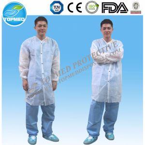 CE Certificated Disposable Nonwoven Lab Coat, SBPP Lab Coat pictures & photos