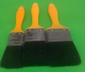 Black Filaments Mix Bristle with Yellow Handle Painting Brush pictures & photos