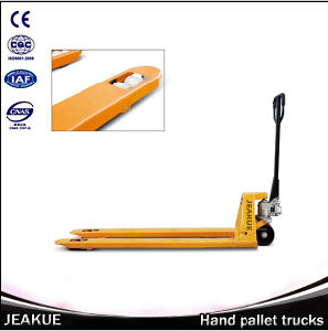 2017 China Factory Price 1800kg Long Fork High Hydraulic Lifting Manual Pallet Truck with AC/DC Motor pictures & photos