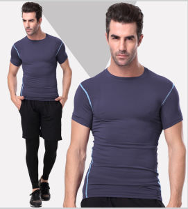 Plain Spandex/Polyester Sportswear Gym T-Shirt for Men pictures & photos