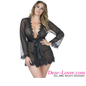 Black Plus Size Lace Sleeping Babydoll Lingerie pictures & photos