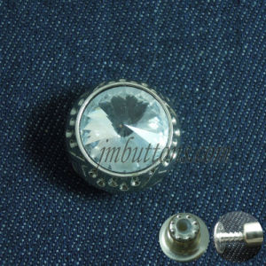Green Rhinestone Plating Denim Metal Buttons pictures & photos