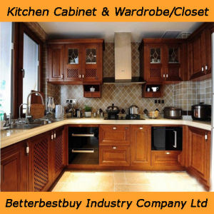 Classical Solid Wood Kitchen Cabinet pictures & photos